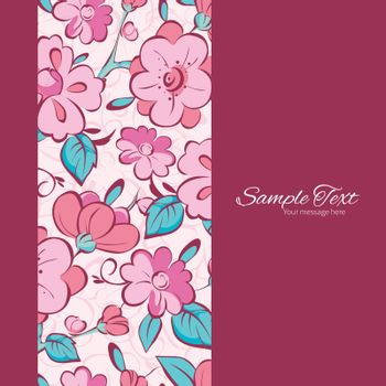 Vector pink blue kimono flowers vertical frame seamless pattern background graphic design