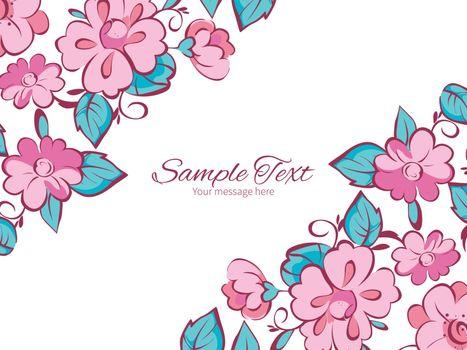 Vector pink blue kimono flowers horizontal double corners frame invitation template graphic design