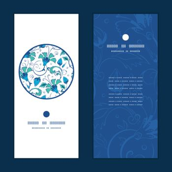 Vector blue green swirly flowers vertical round frame pattern invitation greeting cards set graphic design