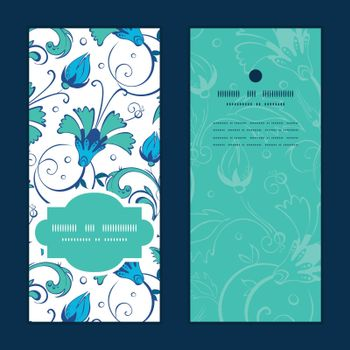 Vector blue green swirly flowers vertical frame pattern invitation greeting cards set graphic design
