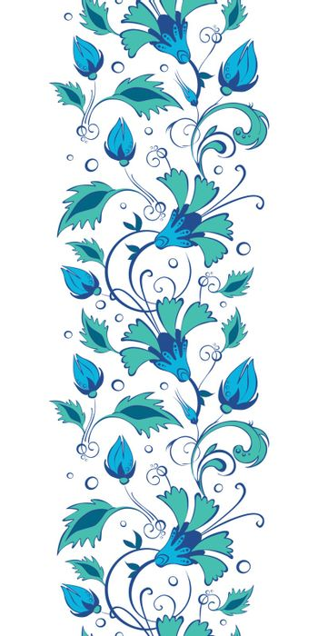 Vector blue green swirly flowers vertical border seamless pattern background graphic design