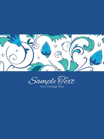 Vector blue green swirly flowers stripe frame vertical card invitation template graphic design
