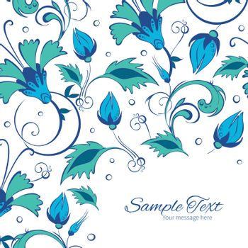 Vector blue green swirly flowers frame corner pattern background graphic design