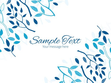 Vector blue forest horizontal double corners frame invitation template graphic design