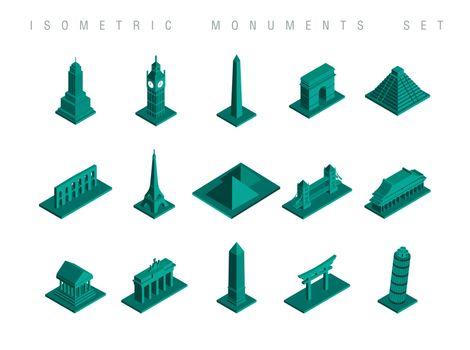 Isometric travel monuments set illustration