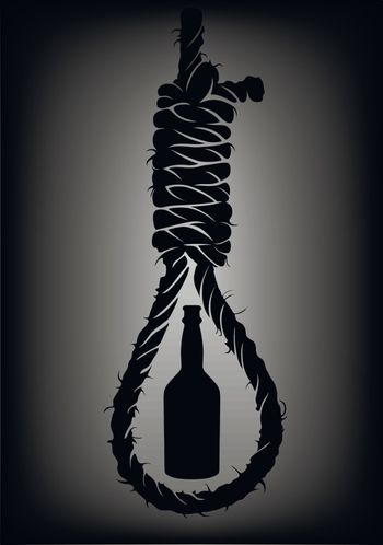 Alcoholism. Old rope with hangman's noose with bottle