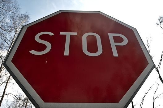 Road stop sign standing on the street.