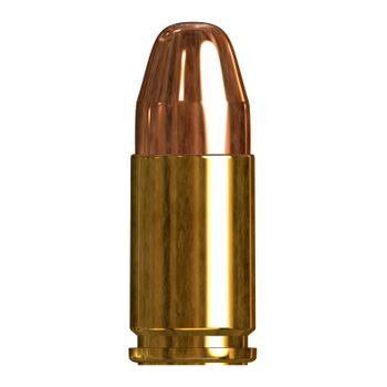 3D illustration of a single bullet isolated over a white background.