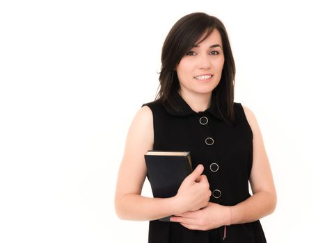 Full isolated studio picture from a young business woman with black book.