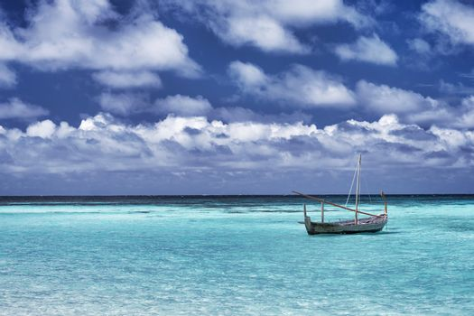 Little boat in the sea