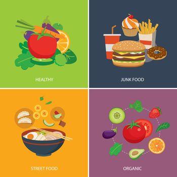 set of flat design concept for food