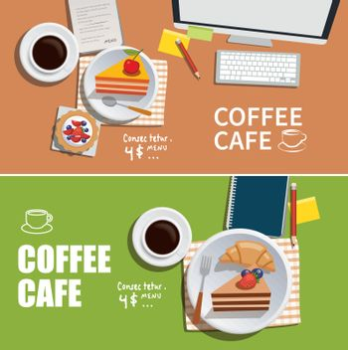coffee cafe banner flat design element