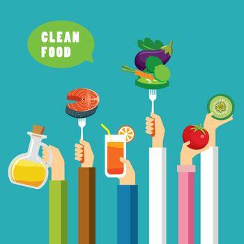 clean food concept flat design