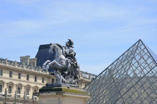 Front Entrance of Louvre with pyramid