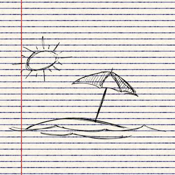 illustration of the sun and a parasol
