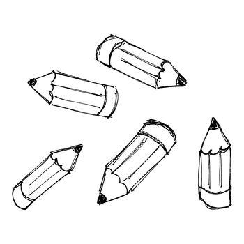 Set of cartoon styple pencils