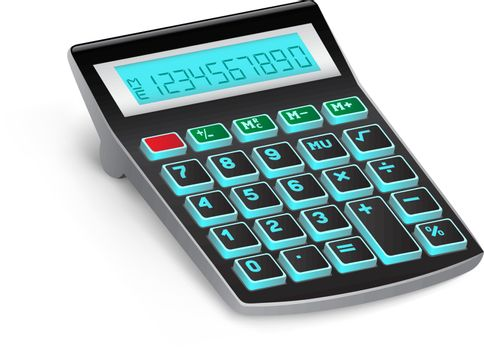 The black calculator on the white background
