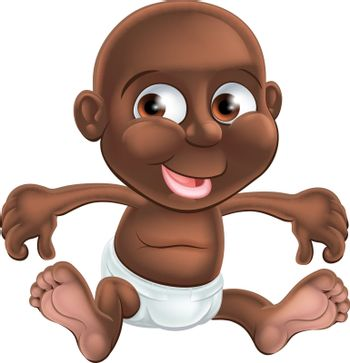 A happy little cartoon baby in his or her nappy