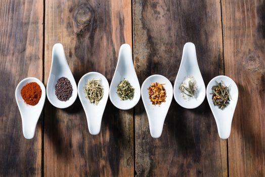 Cooking spices displayed in tasting spoons
