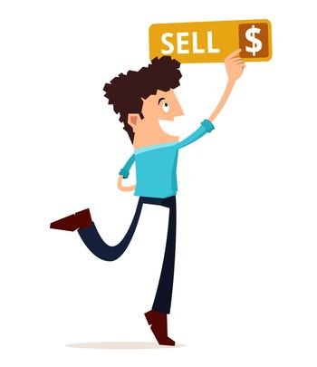 young man press the sell button