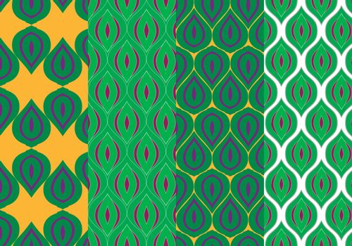 Stylized Peacock Feathers Seamless Patterns Set
