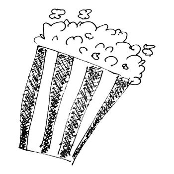 sketch drawing of a bucket of popcorn