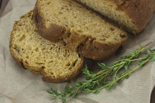 Wholemeal bread on brown paper