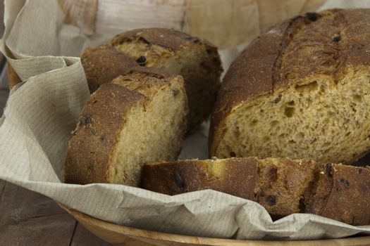 Loaf of bread in a basket