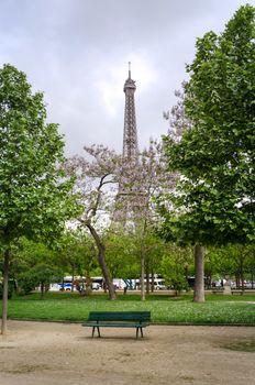 Eiffel Tower at Champ de Mars Park, Paris