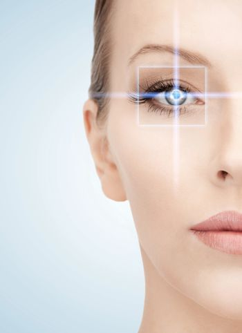 woman eye with laser correction frame