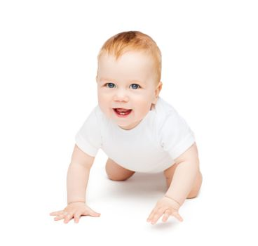 crawling smiling baby looking up