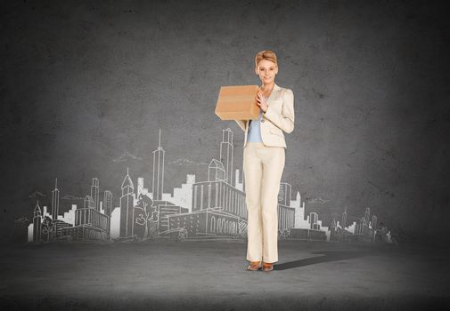 businesswoman delivering cardboard box