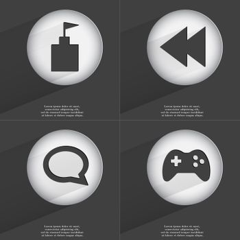 Flag tower, Rewind, Chat bubble, Gamepad icon sign. Set of buttons with a flat design. Vector