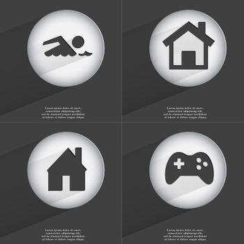 Swimmer, House, Gamepad icon sign. Set of buttons with a flat design. Vector