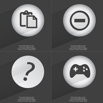 Tasklist, Minus, Question mark, Gamepad icon sign. Set of buttons with a flat design. Vector