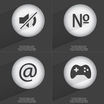 Mute, Number, Mail, Gamepad icon sign. Set of buttons with a flat design. Vector