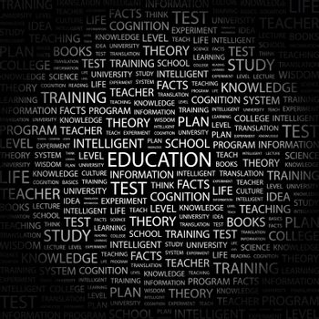 EDUCATION. Concept illustration. Graphic tag collection. Wordcloud collage.