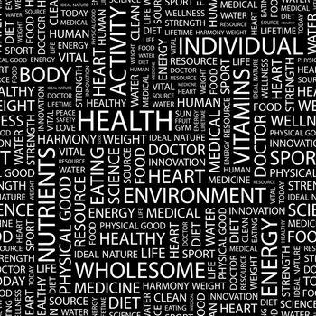 HEALTH. Seamless pattern. Word cloud illustration.