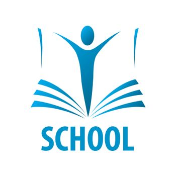 vector logo education people in the book