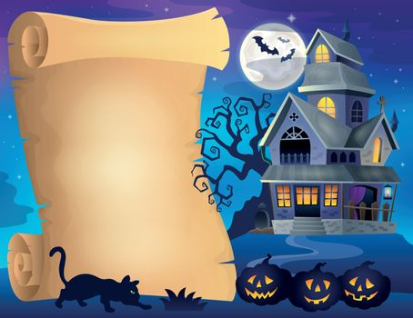 Parchment with haunted house thematics 2