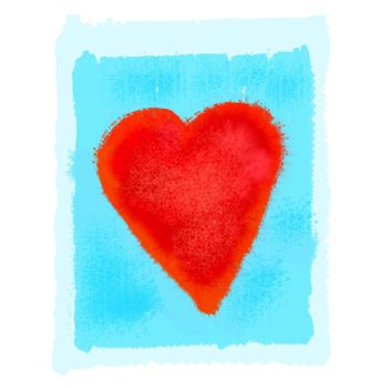 Abstract bright red heart on blue watercolor background