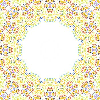 White background with bright colorful pattern frame