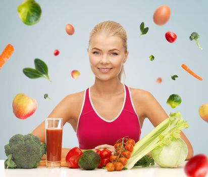 happy woman with vegetarian food and vitamins