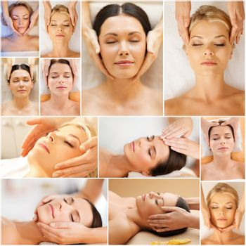 beauty, healthy lifestyle and relaxation concept - collage of many pictures with beautiful young women having facial treatment in spa salon