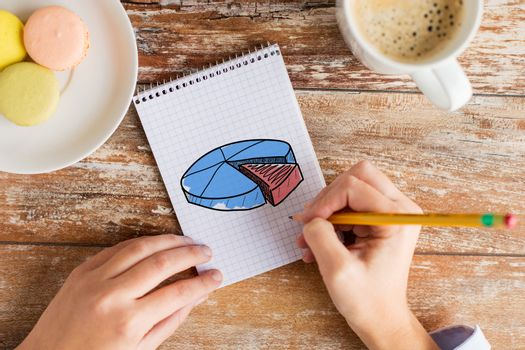 business, education and people concept - close up of female hands drawing chart in notebook with pencil, coffee and cookies on table
