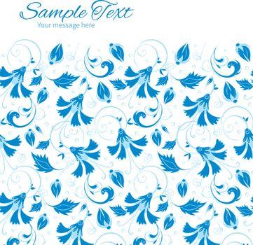 Vector dark blue turkish floral horizontal frame seamless pattern background graphic design