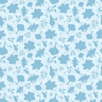 Vector Blue Tropical Flowers Texture Seamless Pattern graphic design