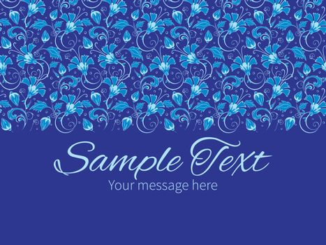Vector dark blue turkish floral horizontal border greeting card invitation template graphic design