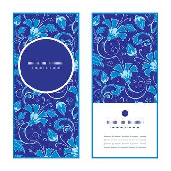 Vector dark blue turkish floral vertical round frame pattern invitation greeting cards set graphic design