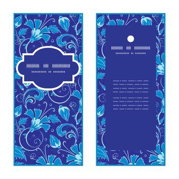 Vector dark blue turkish floral vertical frame pattern invitation greeting cards set graphic design